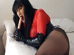 Sexy TGirl slut Yvette sucks on her dildo and plays with her cock