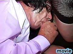 Mature blond crossdresser is first to give his handsome lover a nice blowjob.