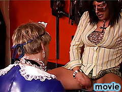 Transvestite is serving his cock to a sissyboy