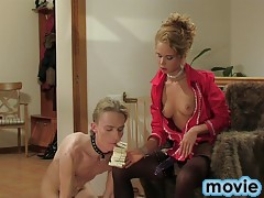 Mistress and her sub get to freaky animal play