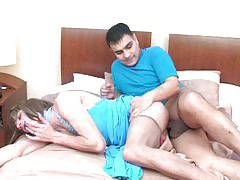 Cock-starving sissy guy sucking off and spreading his cheeks for rocky pole
