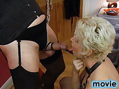 Helga takes this filthy trannies cock deep in her mouth and bites it