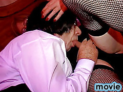 Mature crossdresser sucking another sissy's tasty cock