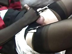 This big dicked pantie lover gets his rock hard cock toyed with until he cums.