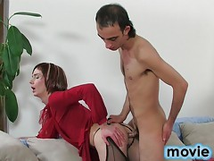 Crossdressed guy gives head before getting shit fucked out of his lubed bum