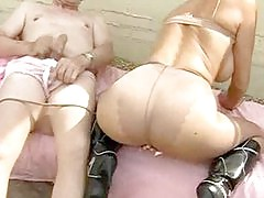 This sissy pantie lover gets his cock nice and hard as he wanks over a tight pair of pantyhose.