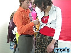 Sissy guy in a girlish outfit wakes his lover for paint-peeling screwing