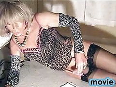 Sexy crossdresser Kim wanking for a messy cumshot