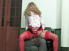 Blond sissy guy in female clothes getting ass penetrated in every which way