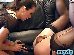 FemDom Jane has a lot of fun spreading this TGirls ass wide open