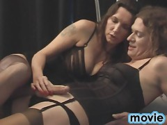 Naughty Jane gives Tgirl a footjob then blowjob