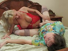 Horny sissy toys his ass in front of his girl before wild strap-on fucking